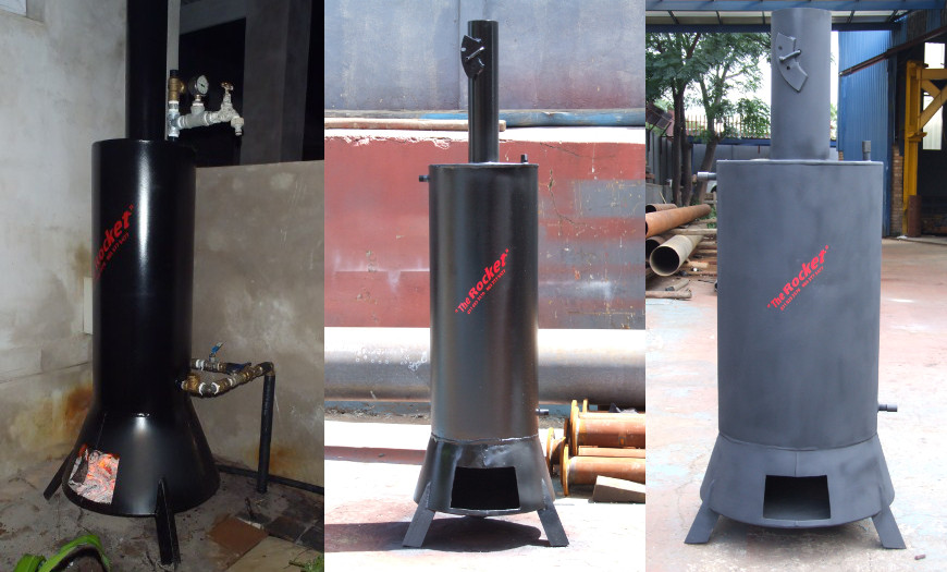 Wood fire water heaters water heating pumping power for How to build a rocket stove water heater