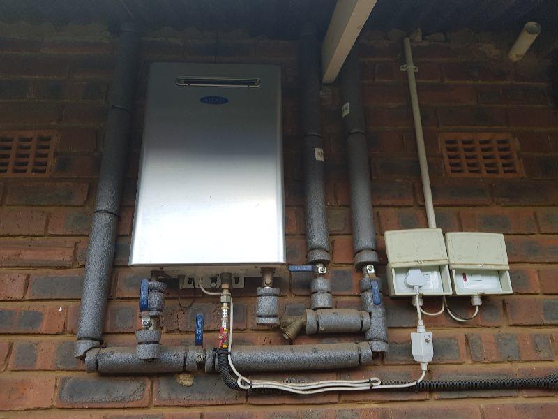 Solar Heating Feeding A Gas Geyser Water Heating